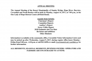 Annual Meeting – August 14, 2017 at 7:00 PM