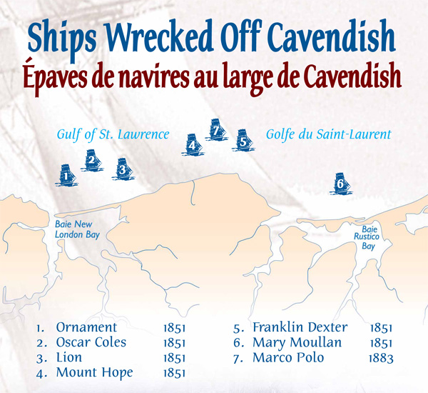 Shipwrecks Off Cavendish Map